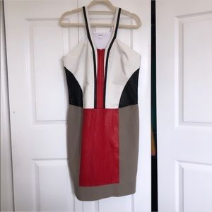 EUC Helmut Lang dress with 100% lamb skin leather